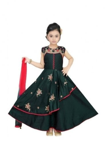 Green and Pink Girl's Churidar Suit
