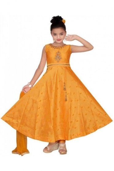 Orange and Gold Girl's Churidar Suit