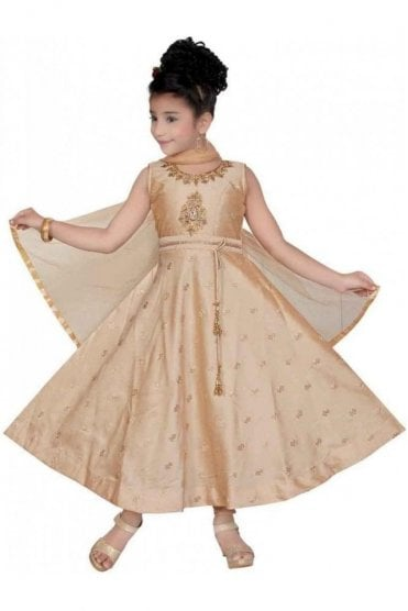 Beige and Gold Girl's Churidar Suit