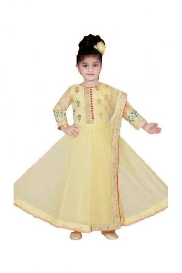 Lemon Yellow and Red Girl's Churidar Suit
