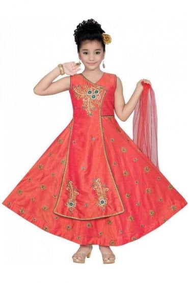 Coral Pink and Jade Green Girl's Churidar Suit