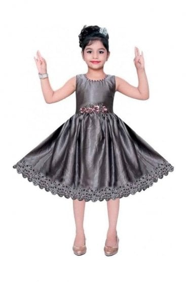 GPF19069 Grey and Silver Girl's Party Frock