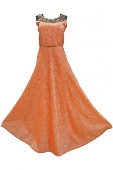 WPD19103 Orange and Brown Designer Churidar Suit Gown