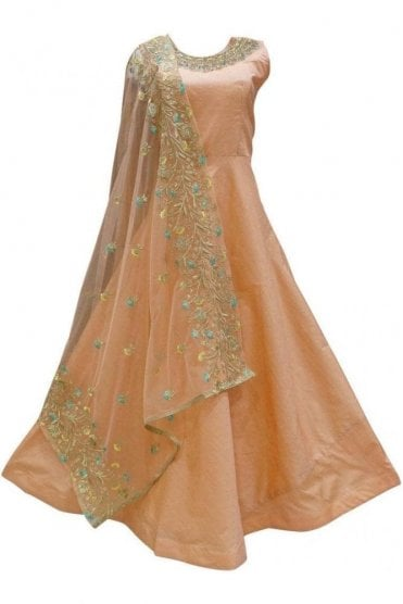 WPD19120 Peach and Turquoise Designer Churidar Suit Gown