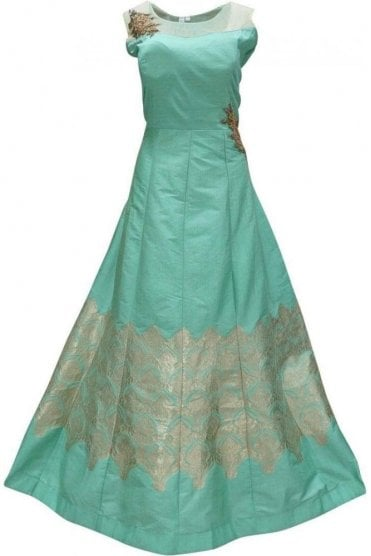 WPD19126 Sea Green and Gold Designer Churidar Suit Gown