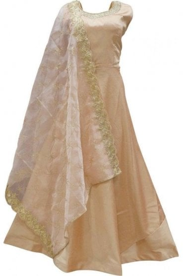 WPD19127 Peach and Gold Designer Churidar Suit Gown