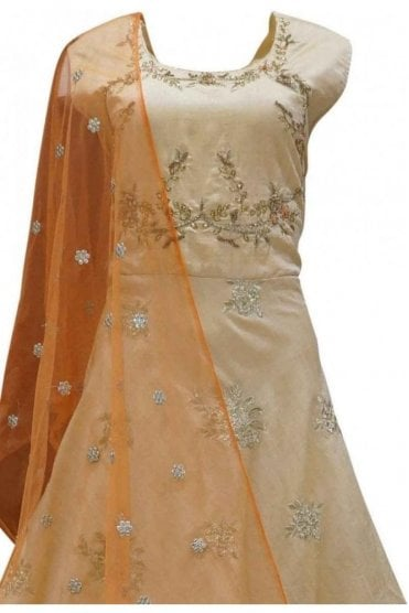 WPD19131 Peach and Orange Designer Churidar Suit Gown