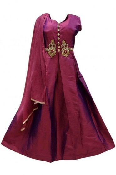 WPD19142 Purple and Gold Designer Churidar Suit Gown