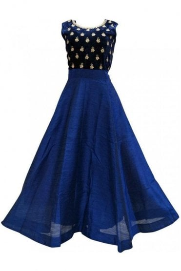 WPD19148 Blue and Gold Designer Churidar Suit Gown