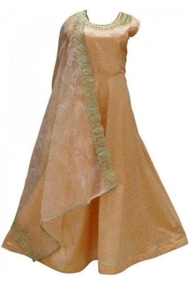 WPD19159 Peach and Gold Designer Churidar Suit Gown