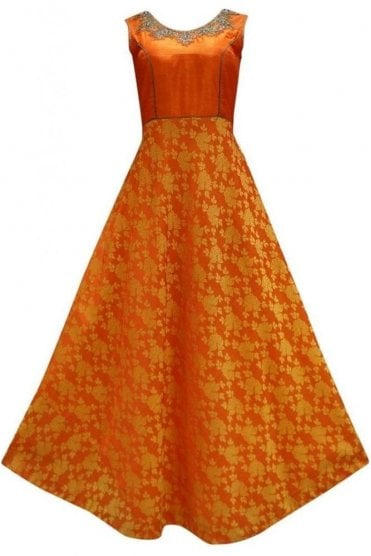 WPD19179 Orange and Jade  Designer Churidar Suit Gown