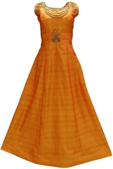 WPD19195 Orange and Gold Designer Churidar Suit Gown