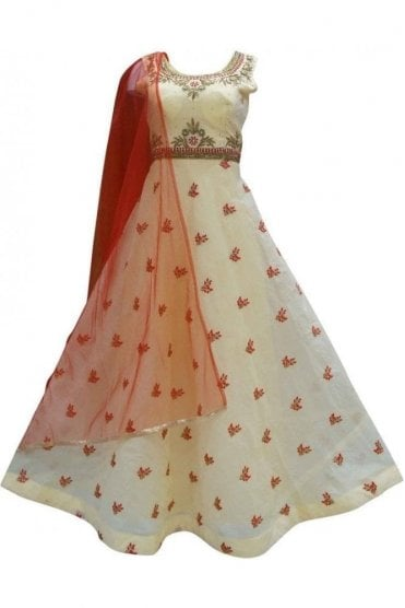 WPD19211 Cream and Red Designer Churidar Suit Gown