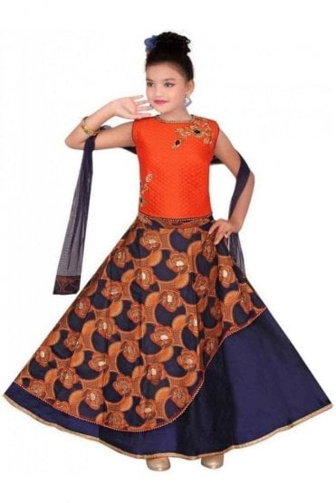 GLC19136 Orange and Navy Blue Girl's Lengha Choli