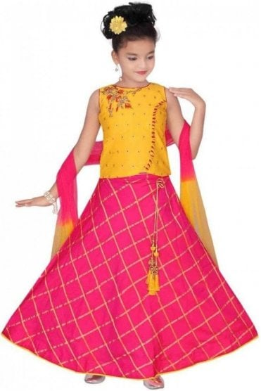 GLC19137 Yellow and Pink Girl's Lengha Choli
