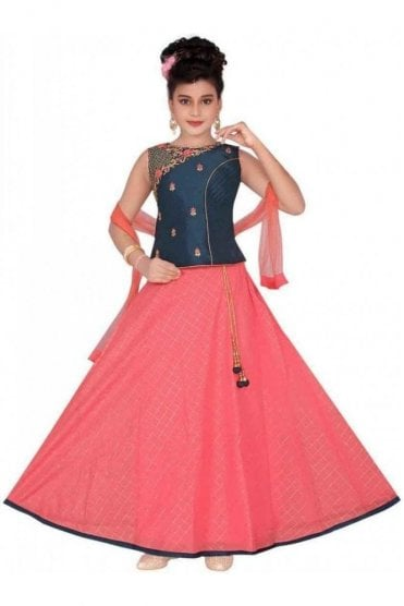 GLC19143 Teal Blue and Pink Girl's Lengha Choli