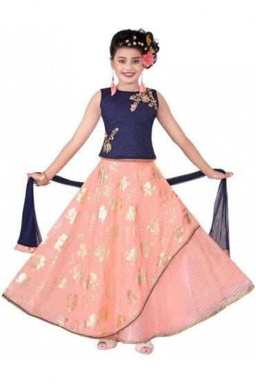GLC19146 Navy Blue and Baby Pink Girl's Lengha Choli