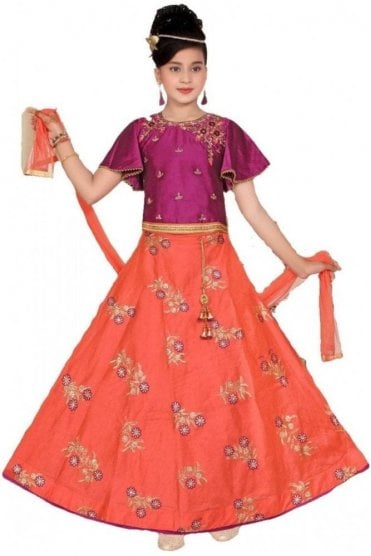 GLC19148 Purple and Peach Girl's Lengha Choli