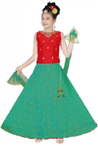 GLC19152 Red and Jade Green Girl's Lengha Choli