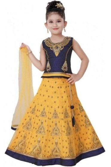 GLC19153 Navy Blue and Yellow Girl's Lengha Choli