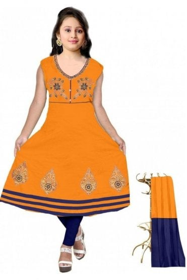 GCS19602 Mustard Yellow and Navy Blue Girl's Churidar Suit