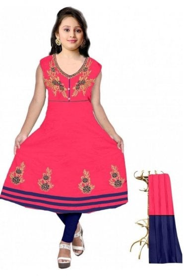 GCS19605 Pink and Navy Blue Girl's Churidar Suit