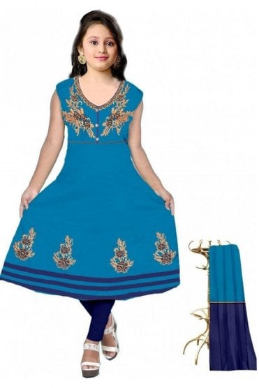 GCS19607 Turquoise and Navy Blue Girl's Churidar Suit
