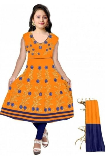 GCS19608 Mustard Yellow and Navy Blue Girl's Churidar Suit