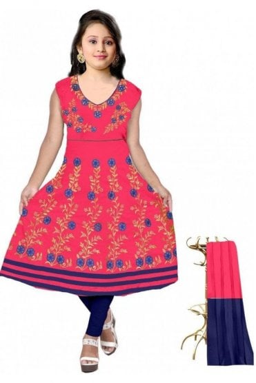 GCS19609 Pink and Navy Blue Girl's Churidar Suit