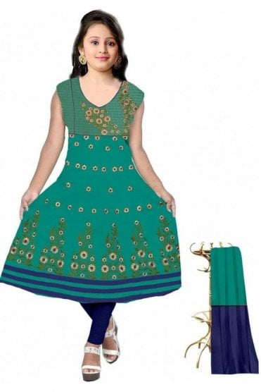 GCS19613 Jade Green and Blue Girl's Churidar Suit