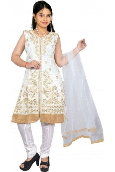 WCS19365 Cream and Gold Designer Churidar Salwar Kameez