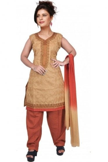 WCS19371 Beige and Rust Orange Designer Churidar Salwar Kameez