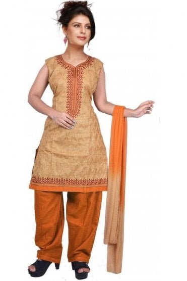 WCS19372 Beige and Mustard Yellow Designer Churidar Salwar Kameez