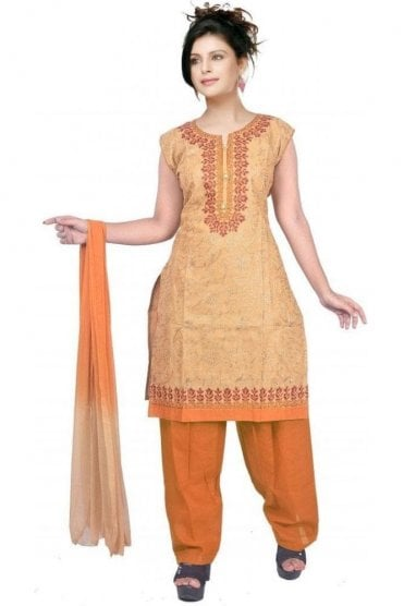 WCS19374 Beige and Mustard Yellow Designer Churidar Salwar Kameez