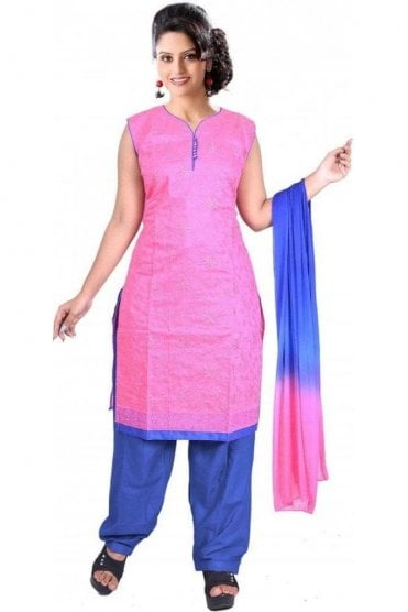 WCS19386 Pink and Blue Designer Churidar Salwar Kameez