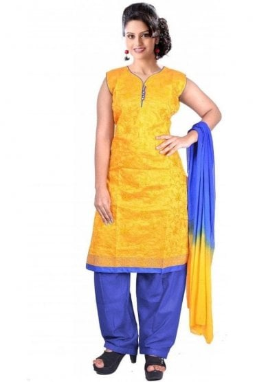 WCS19387 Yellow and Blue Designer Churidar Salwar Kameez