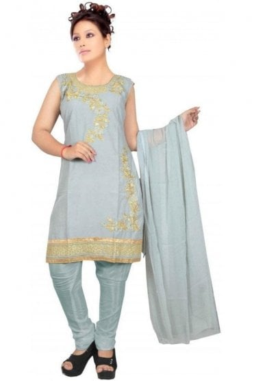 WCS19400 Grey and Gold Designer Churidar Salwar Kameez