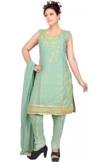 WCS19401 Green and Gold Designer Churidar Salwar Kameez