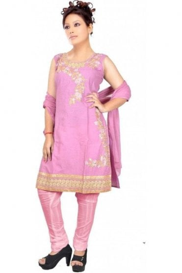 WCS19403 Pink and Gold Designer Churidar Salwar Kameez