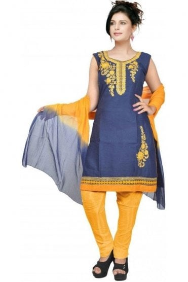 WCS19428 Navy Blue and Mustard Yellow Designer Churidar Salwar Kameez