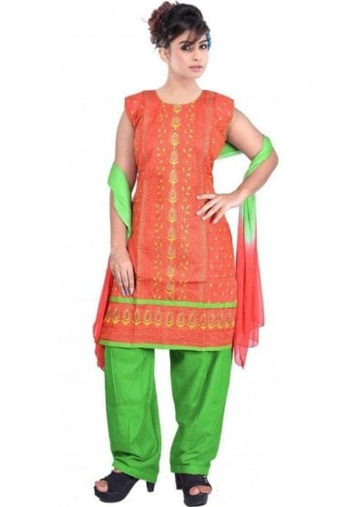 WCS19449 Rust Orange and Green Designer Churidar Salwar Kameez