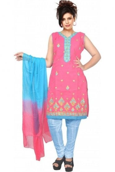WCS19452 Pink and Blue Designer Churidar Salwar Kameez