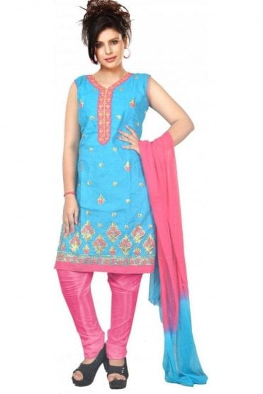 WCS19453 Blue and Pink Designer Churidar Salwar Kameez