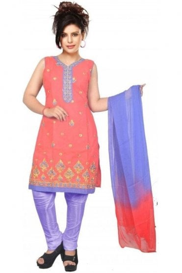 WCS19454 Pink and Purple Designer Churidar Salwar Kameez