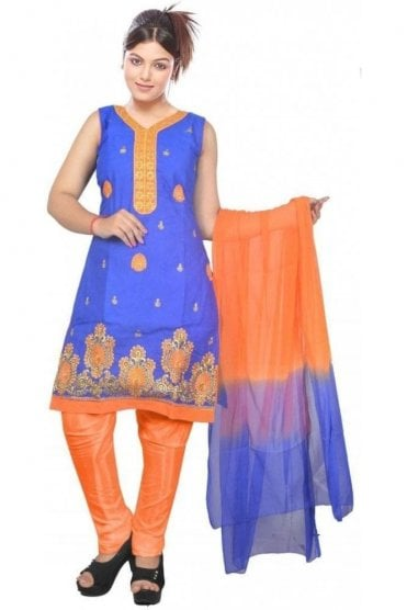 WCS19456 Blue and Orange Designer Churidar Salwar Kameez