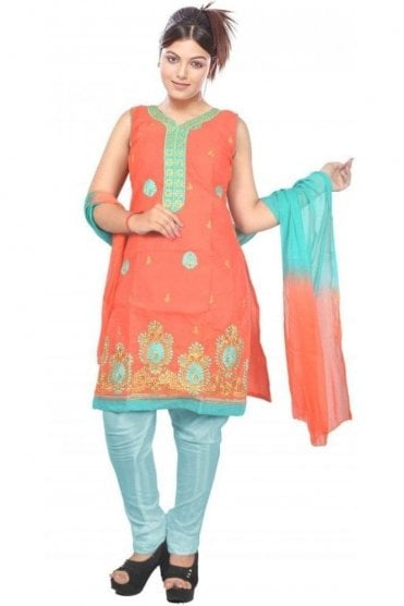 WCS19458 Red and Jade Green Designer Churidar Salwar Kameez