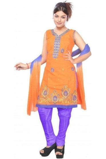 WCS19459 Orange and Blue Designer Churidar Salwar Kameez