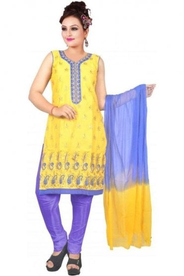 WCS19460 Yellow and Blue Designer Churidar Salwar Kameez