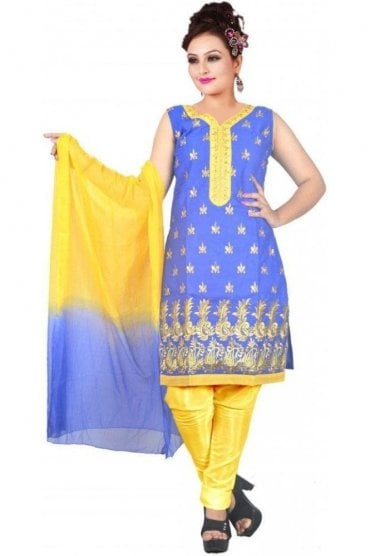 WCS19461 Blue and Yellow Designer Churidar Salwar Kameez