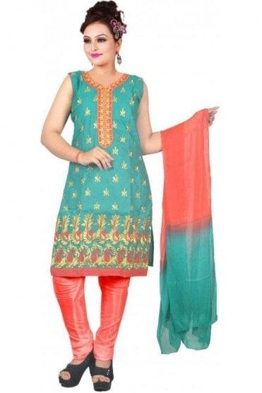 WCS19462 Jade Green and Red Designer Churidar Salwar Kameez